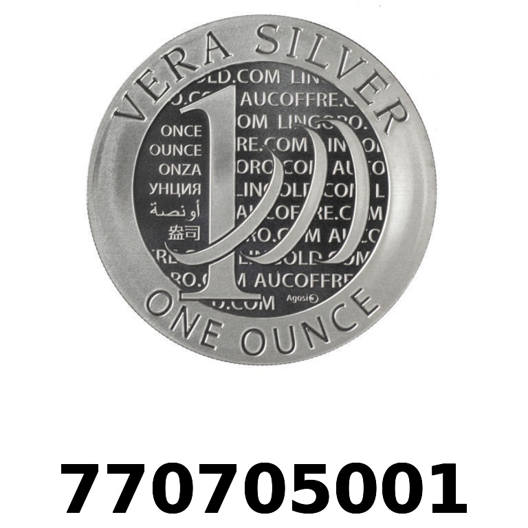 Réf. 770705001 Vera Silver 1 once (LSP - 40MM)  2015 - 2eme type - AVERS