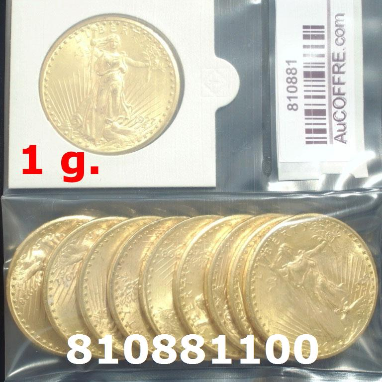 1 gramme d'or pur - Liberty 20$ (LSP)