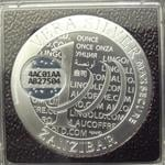 Vera Silver 1 once (Cours Légal - 40MM) Zanzibar 1000 Shillings MaxSecure