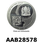 Réf. AAB28578 Vera Silver 1 once (Cours Légal - 40MM)  Zanzibar 1000 Shillings MaxSecure - REVERS